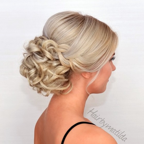 Half Sleek Half Curly Blonde Updo