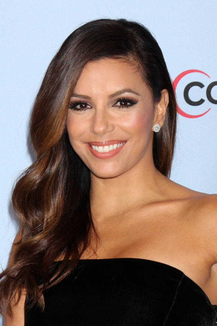 Eva Longoria copper highlights for brown hair
