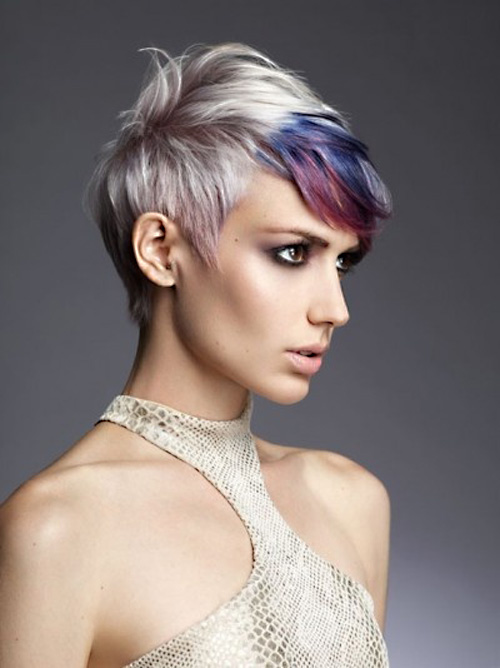short pixie cut with colorful highlights