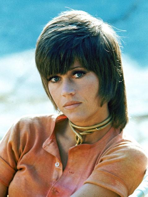 Jane Fonda sleek layered hairstyle
