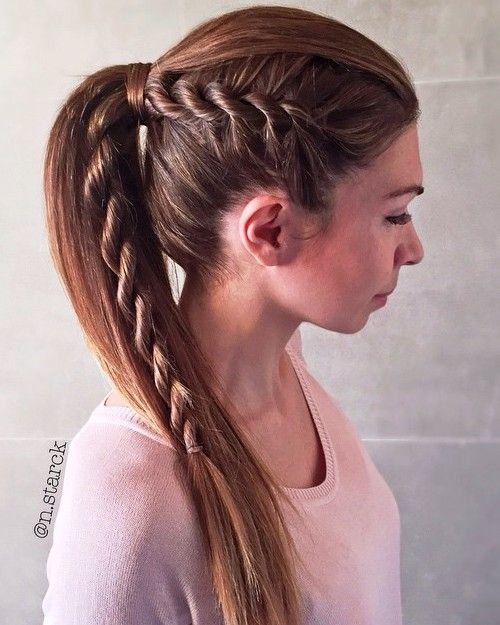 ways to style short straight hair 35 fetching hairstyles for hair 4057 | 6 ponytail for straight hair with a side rope braid