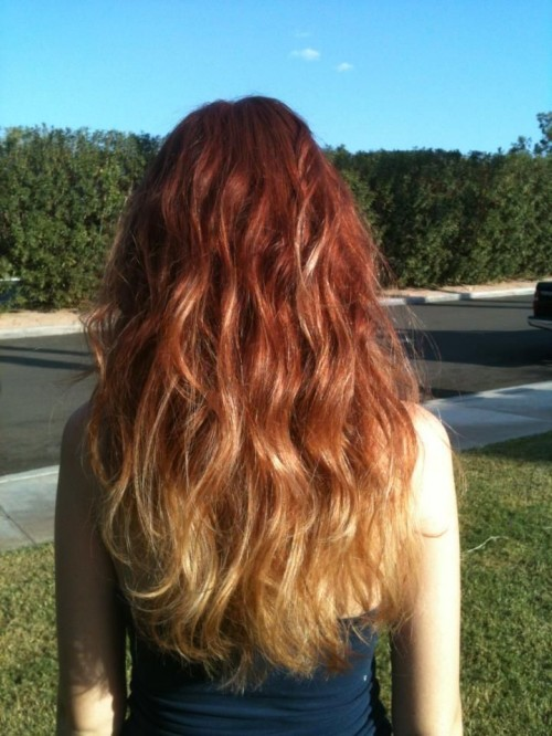 Red Into Blonde Ombre