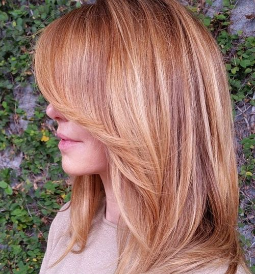 Golden strawberry blonde hair color