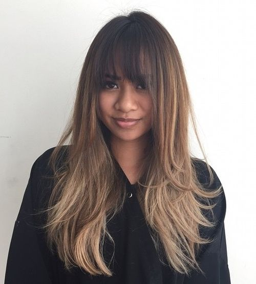 long hair bang styles 40 and effortless layered haircuts with bangs 8423 | 1 long brown layered ombre hair