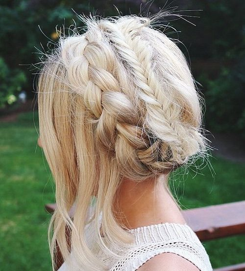 Loose Braid And Up Do: 60 Crown Braid Hairstyles For Summer