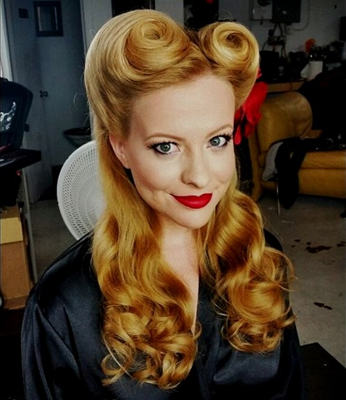 curly hair pinup styles 40 pin up hairstyles for the vintage loving 8755 | 1 half up victory rolls pin up updo