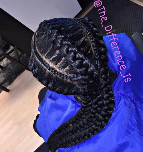 thin and thick goddess braids
