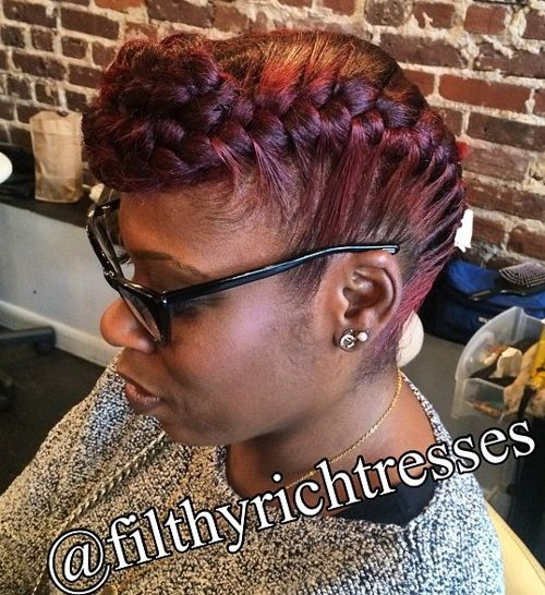 braided burgundy updo for black women