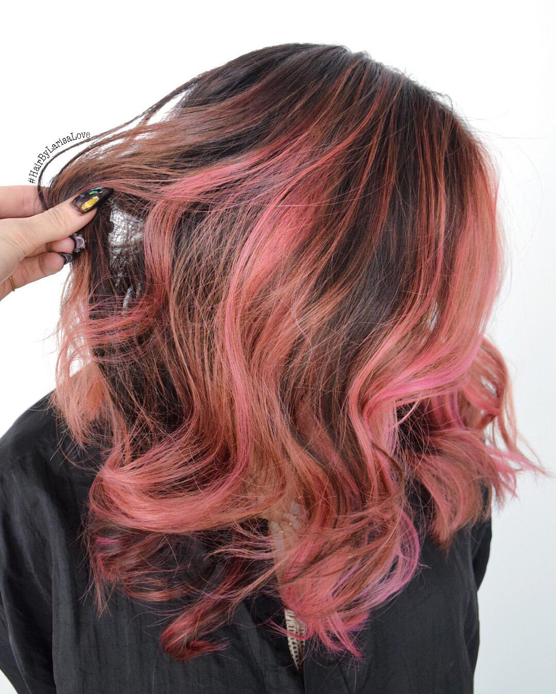 Ten Various Ways To Do Brown Hair With Pink Highlights Brown Hair