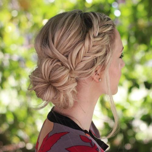 Side Bun With A Fishtail Braid