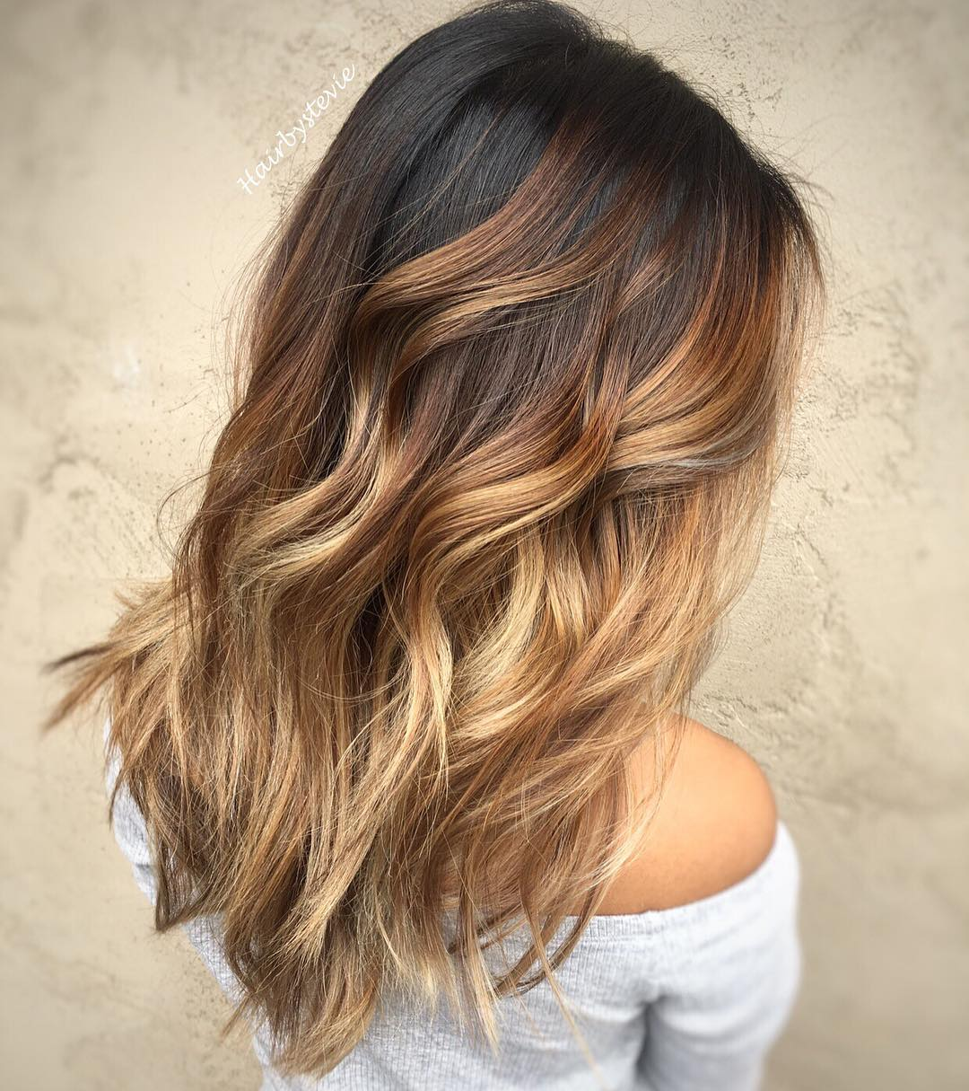 Ombre Hair Brown To Caramel To Blonde Medium Length 20 Sweet Carame...